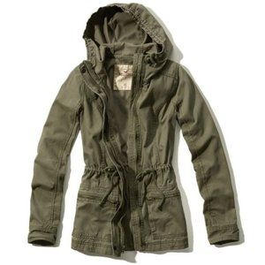 Hollister Hooded Army Green Jacket